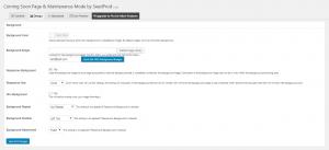 The Coming Soon & Maintenance Mode plugin design settings.