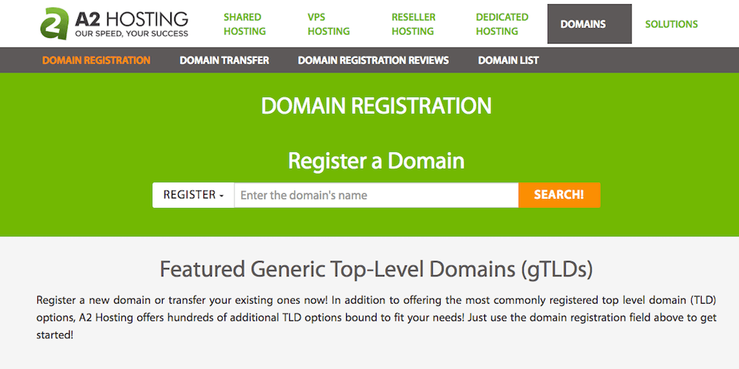 The A2 Hosting domain checker tool.