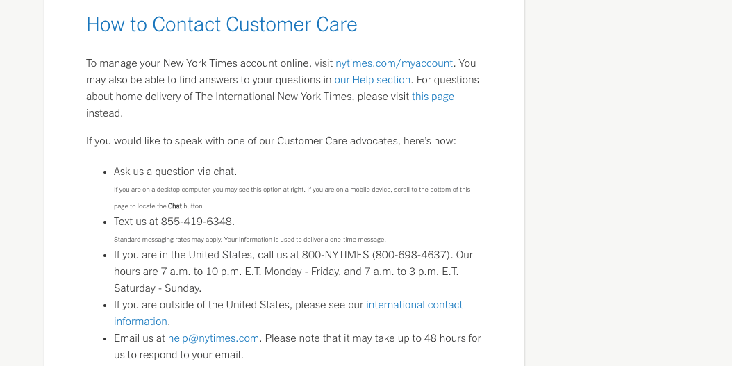 Multiple options on a contact page.