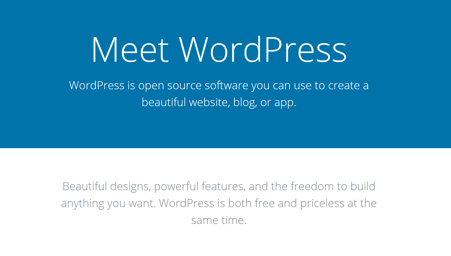 The WordPress website.