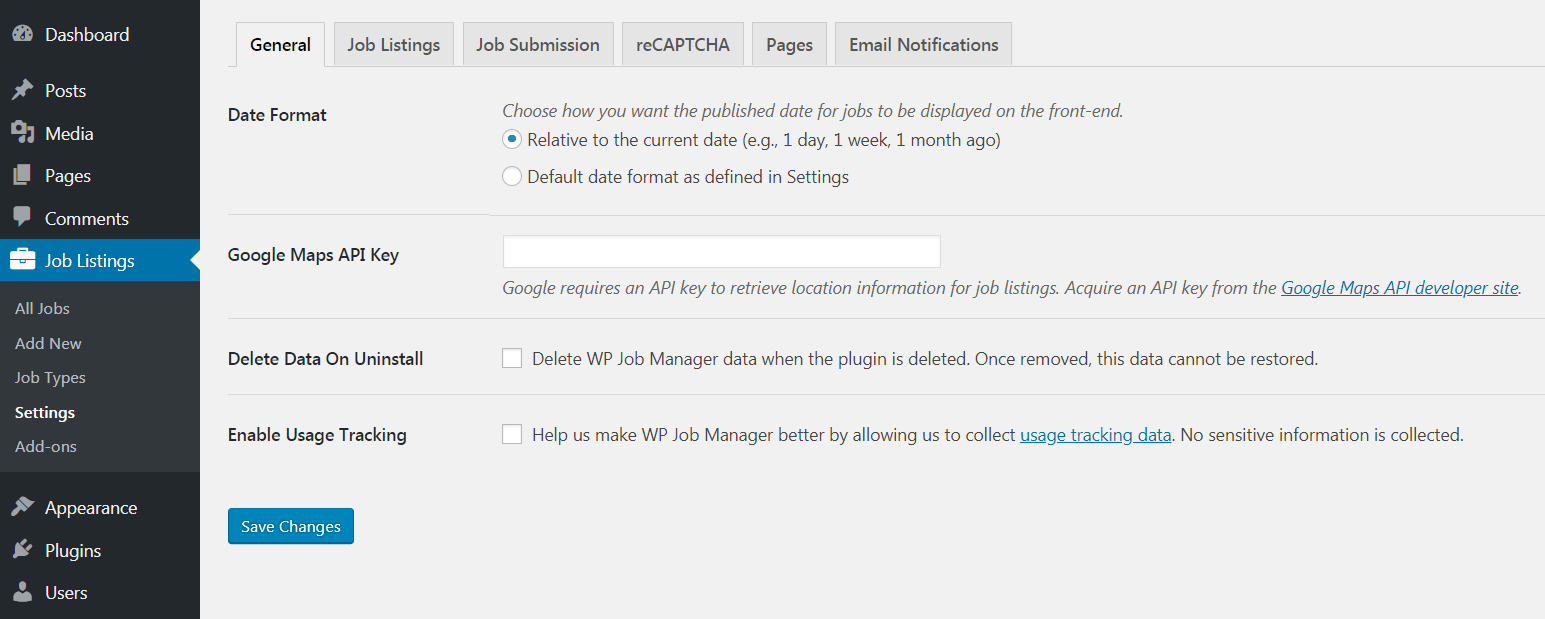The WP Job Manager plugin settings.