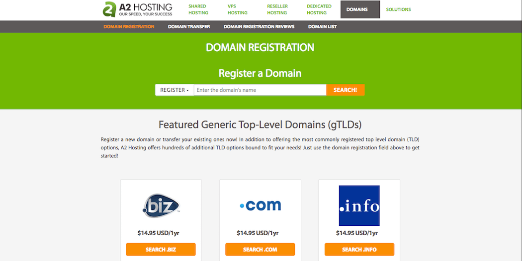 Registering a domain with A2 Hosting.