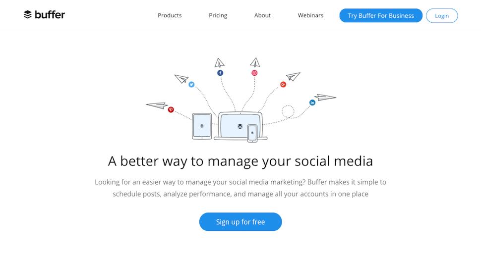 The Buffer website.
