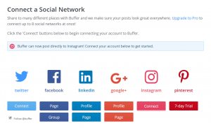 Connecting your social media accounts to Buffer.