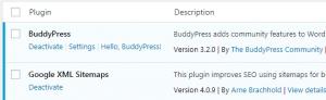 Deactivating a WordPress plugin.