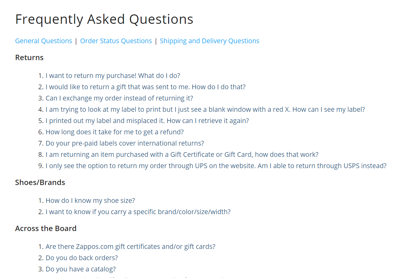 An example of an FAQ page.