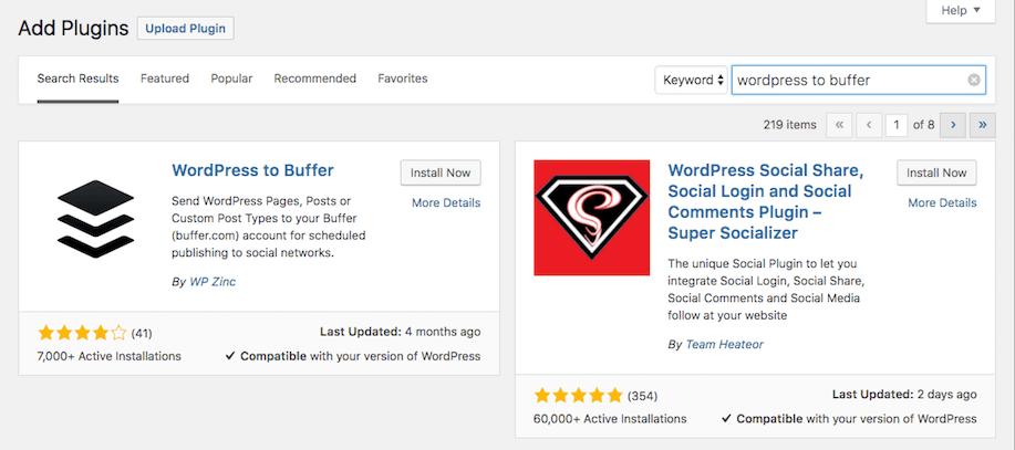 Installing the WordPress to Buffer plugin.