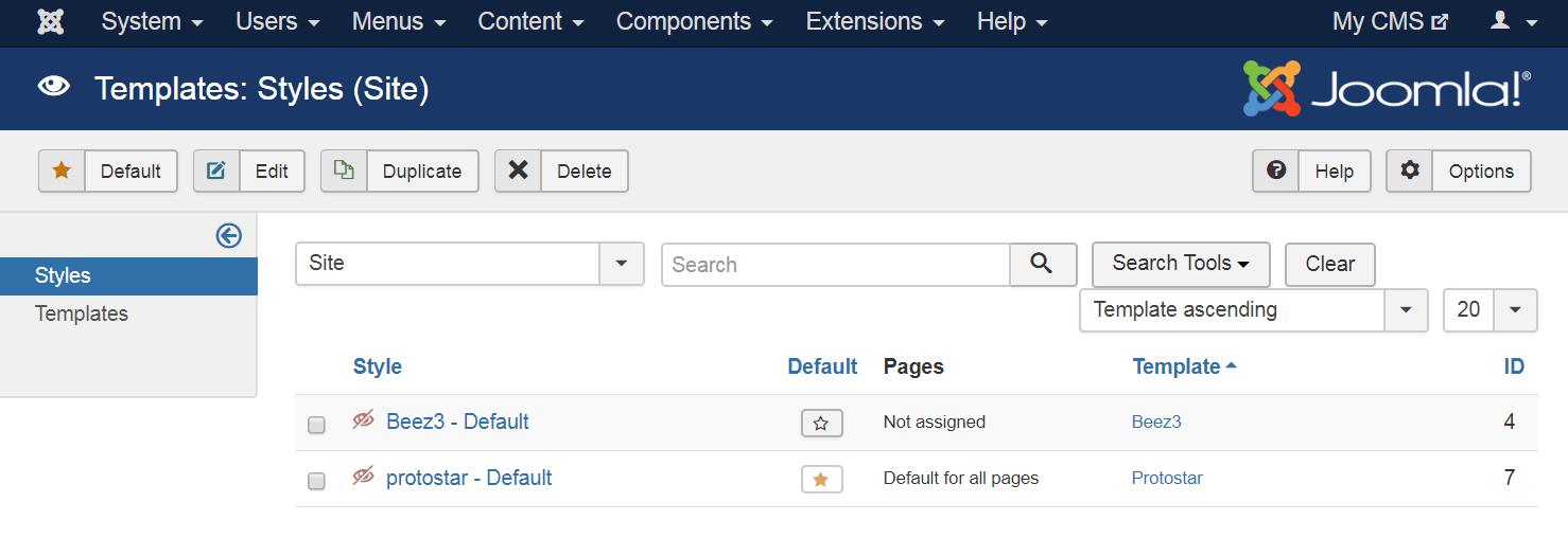 Default templates in Joomla.