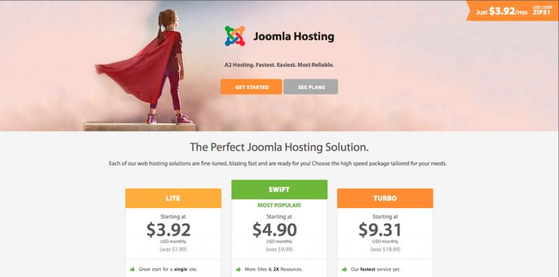Joomla hosting plans on A2 Hosting.