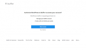 Connecting your Buffer account to WordPress.