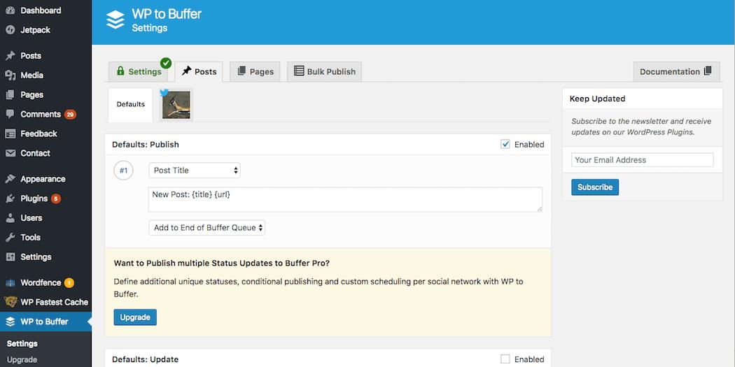 Configuring the WordPress to Buffer settings.