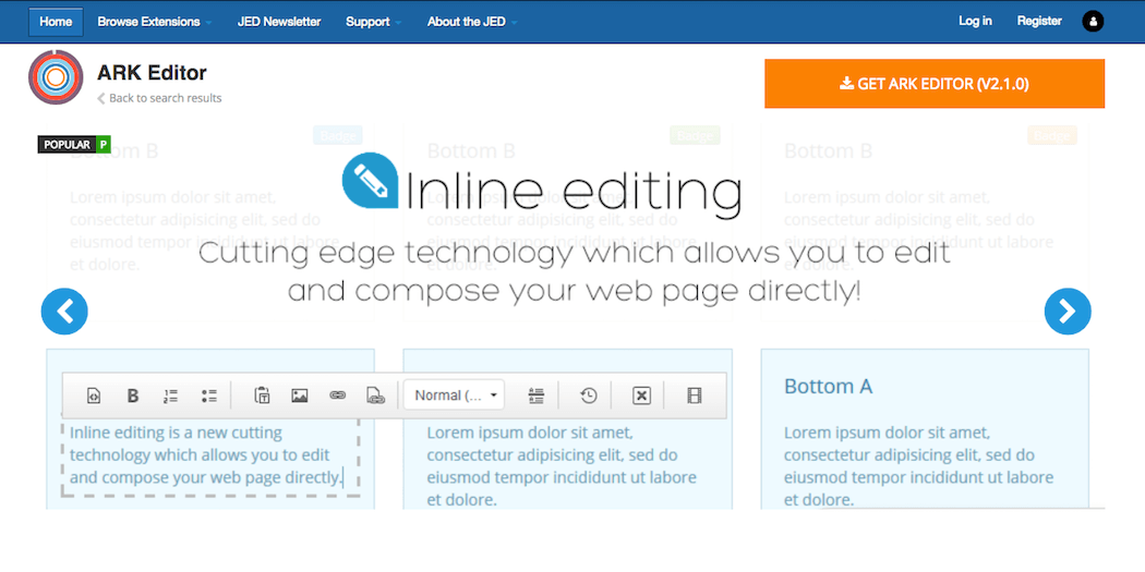 The ARK Editor extension.