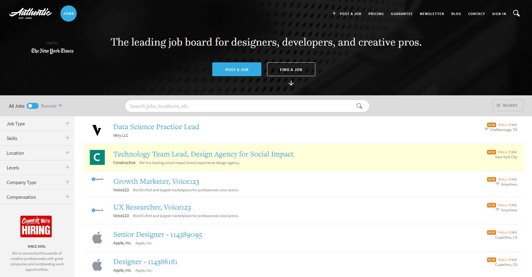 The Authentic Jobs website.