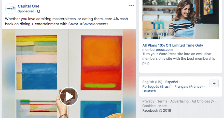 A Capital One ad on Facebook.