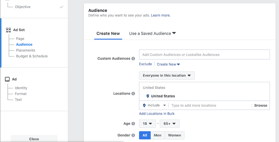 Defining an audience for your Facebook ads.