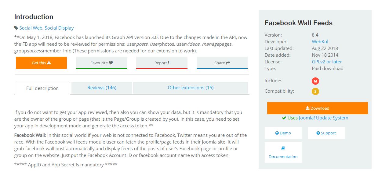 A Joomla extension page.