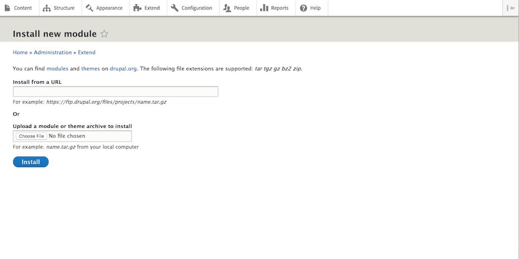 Uploading a Drupal module.