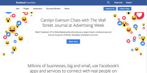 The Facebook Business web page.