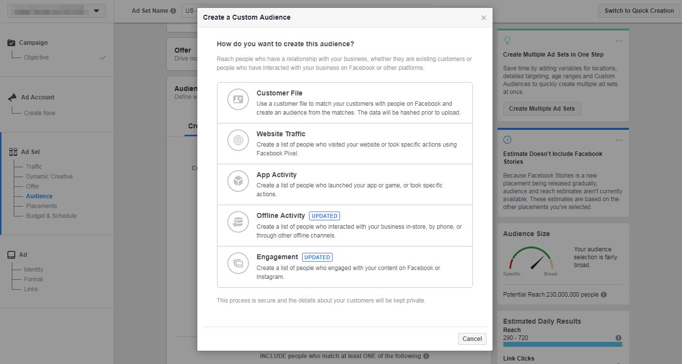The Facebook Custom Audience options.