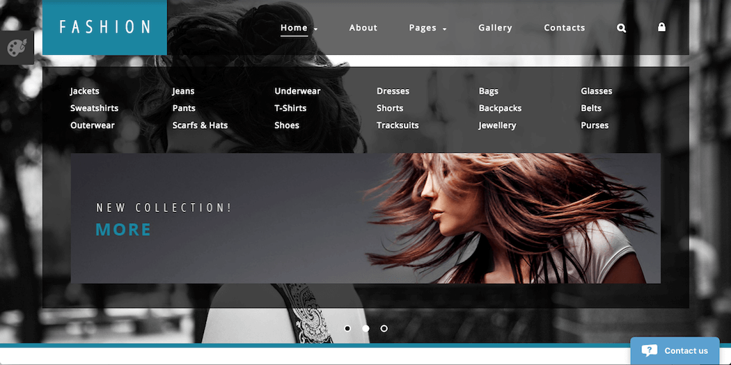 The High Fashion Joomla template.