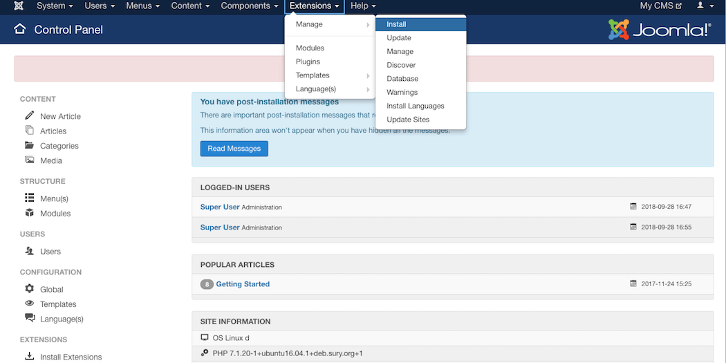 Installing a Joomla extension in the dashboard.