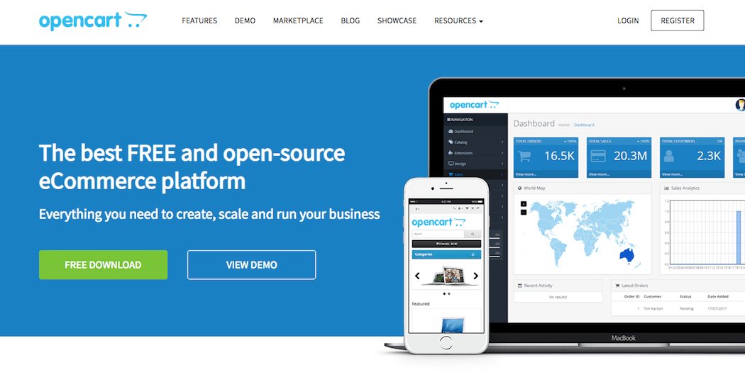 The OpenCart website.