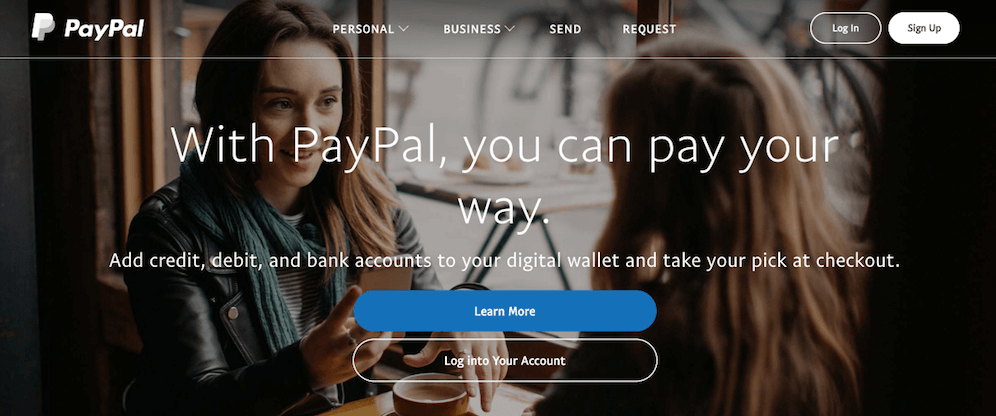 The PayPal website.