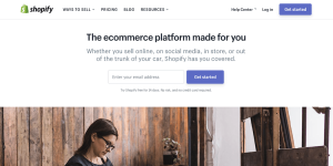 The Shopify website.
