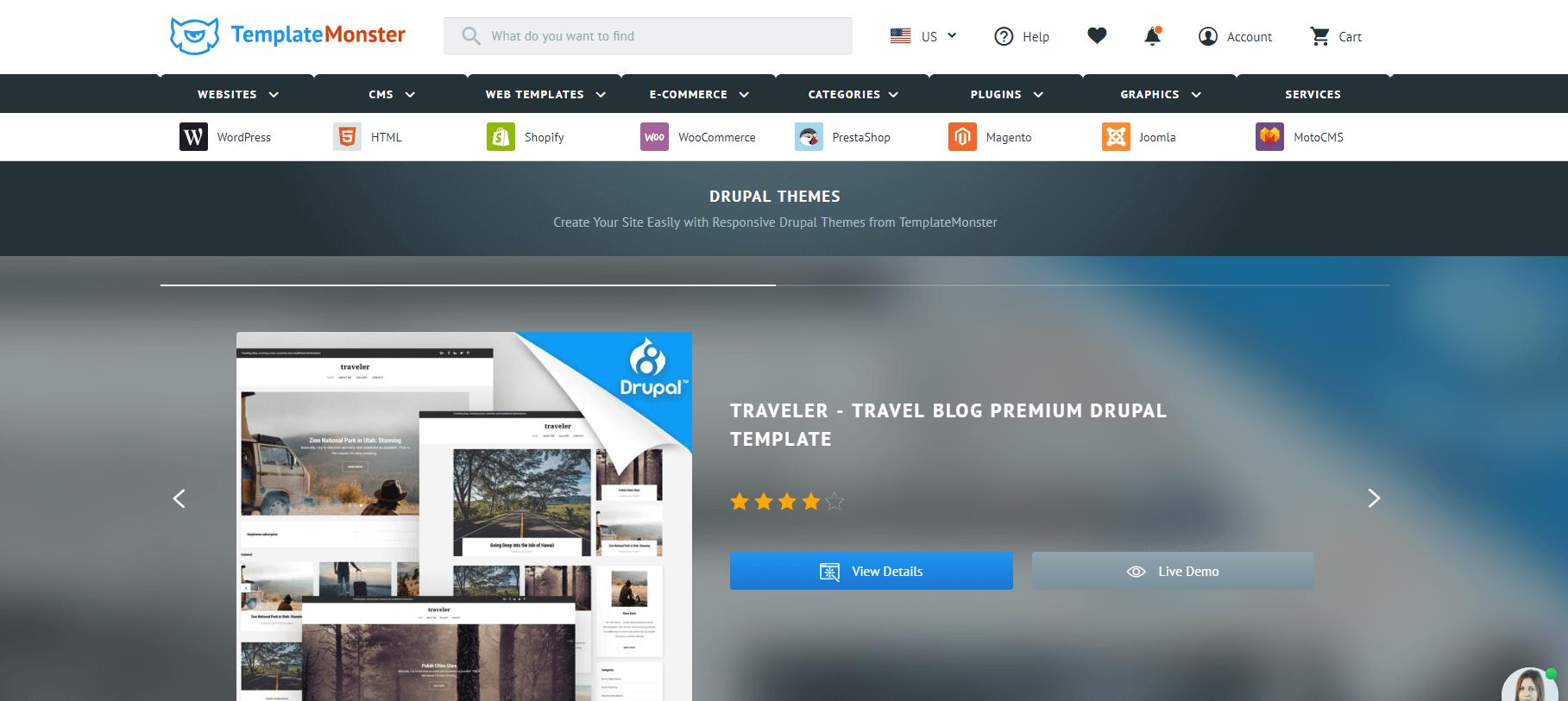 The TemplateMonster website.