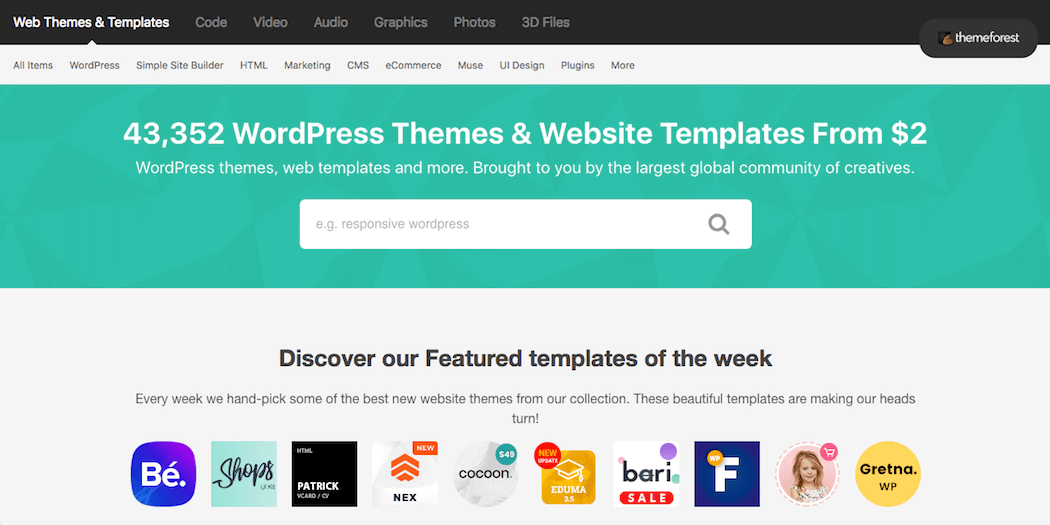 The ThemeForest website.
