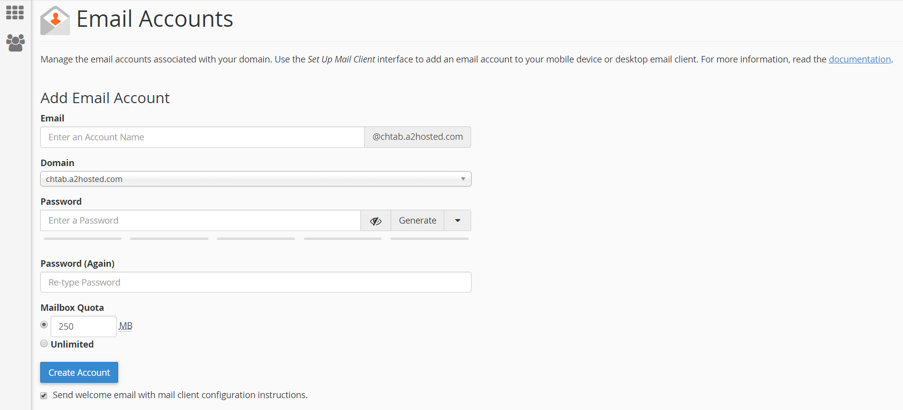 Adding an email account in A2 Hosting.