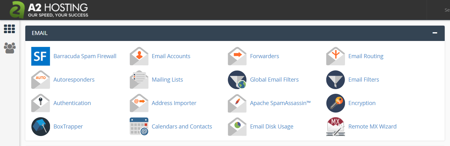 The A2 Hosting control panel email section.