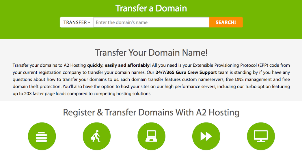 A2 Hosting domain name transferring.