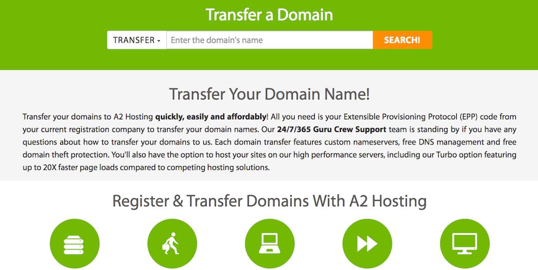 A2 Hosting domain name transferring.