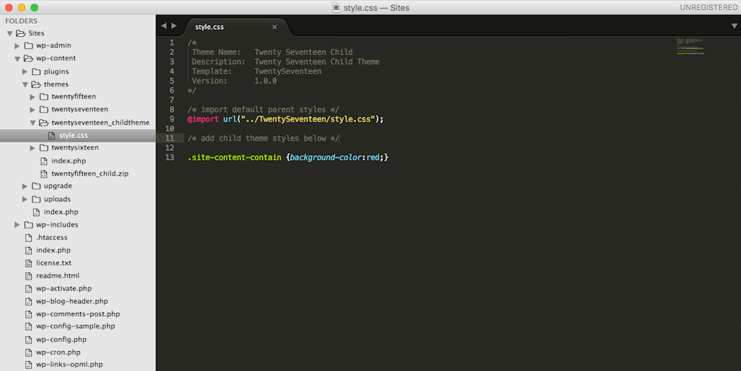 Adding CSS in a child theme.