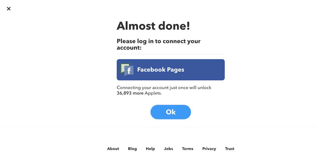 Connecting IFTTT to Facebook.