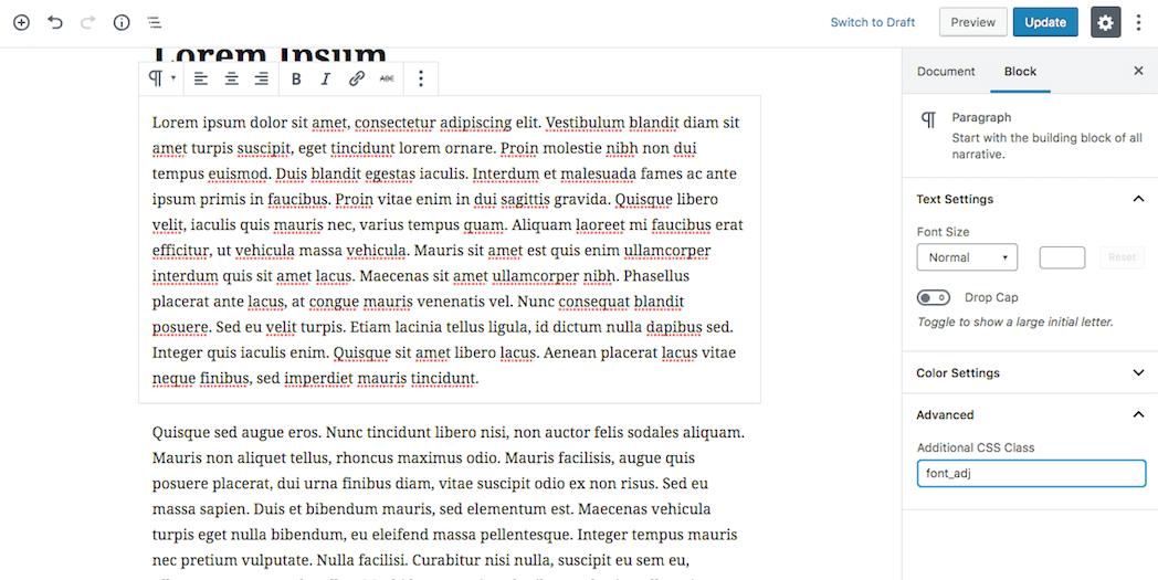 Adding CSS in Gutenberg.