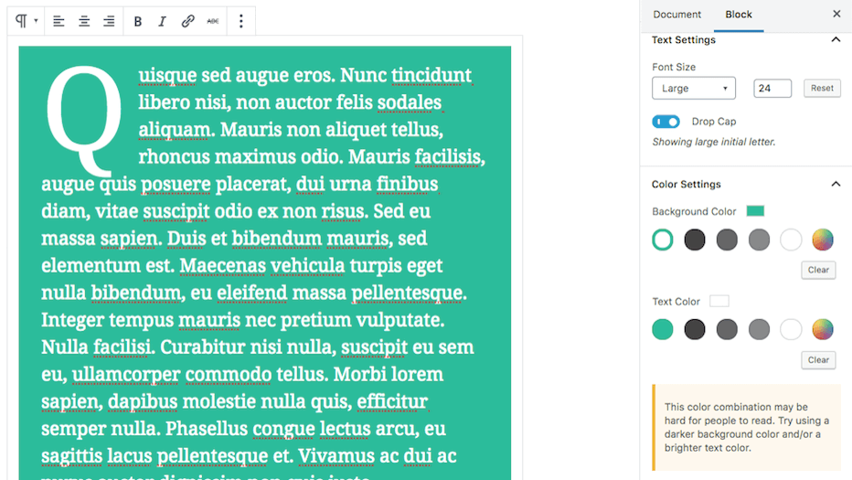 Editing a text block in Gutenberg.