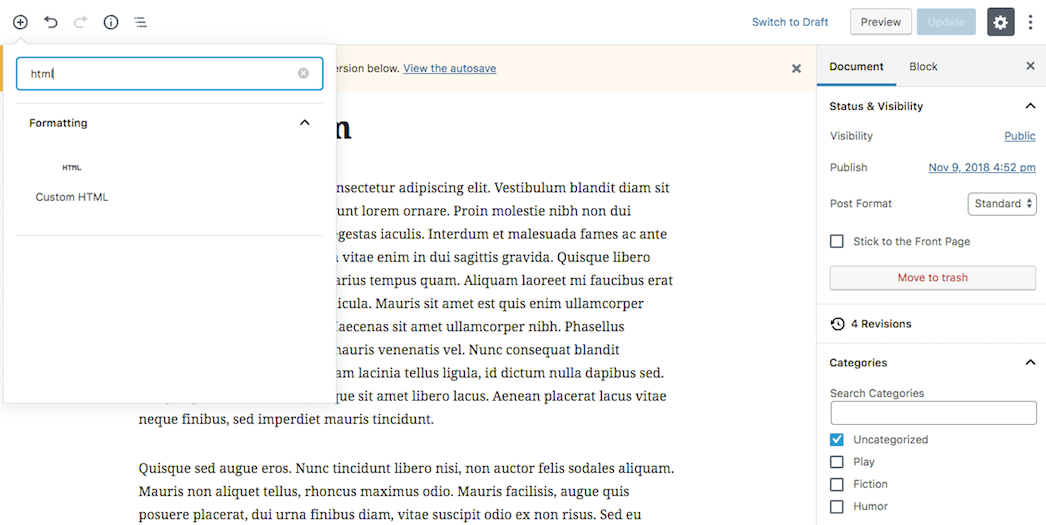 Adding a custom code block in Gutenberg.