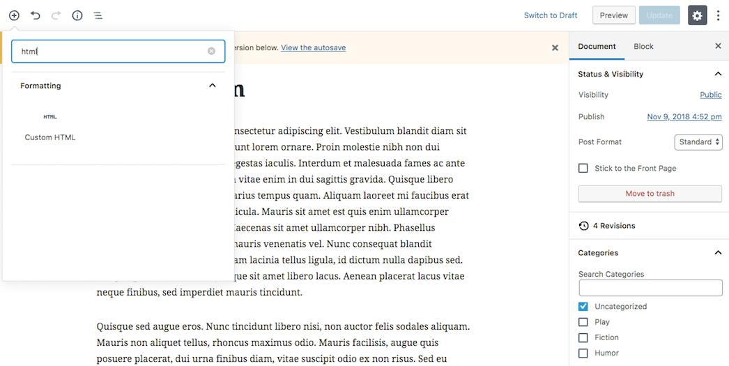 Adding a custom code block in Gutenberg.