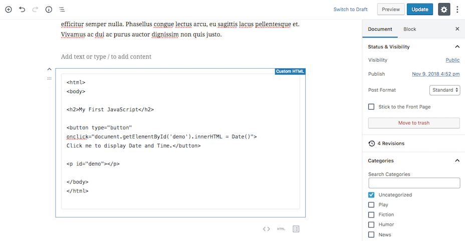 Editing a custom code block in Gutenberg.