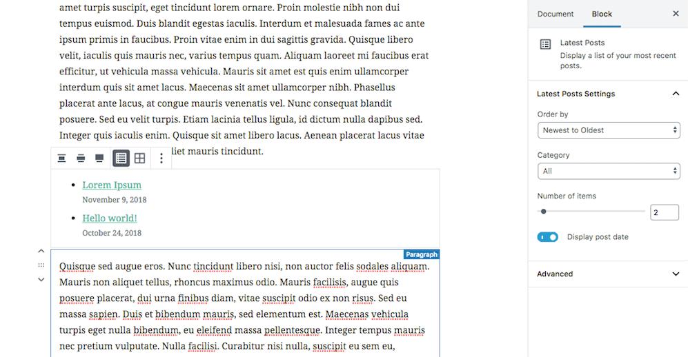 Editing a widget in Gutenberg.