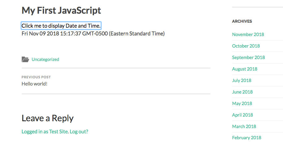 Previewing code in Gutenberg.