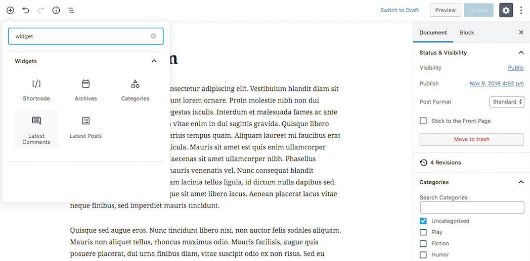 Adding a widget block in Gutenberg.