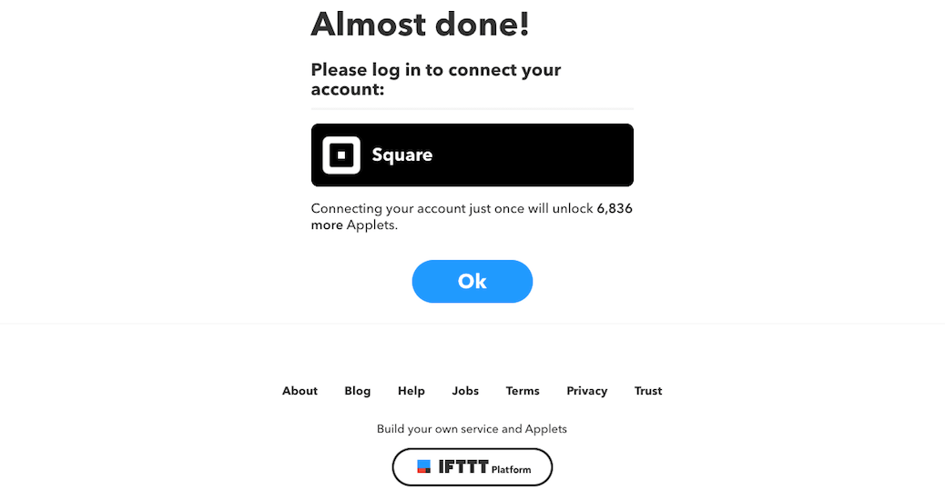 Connecting a Square account to IFTTT.