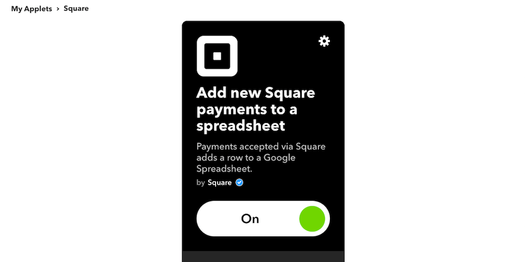 The The Add new Square payments to a spreadsheet applet settings.