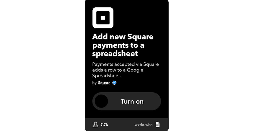 The Add new Square payments to a spreadsheet applet.