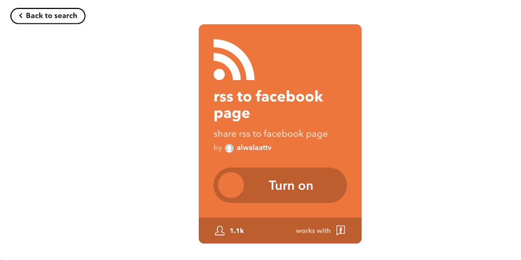 The RSS to Facebook Page applet.