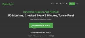 The Uptime Robot website.