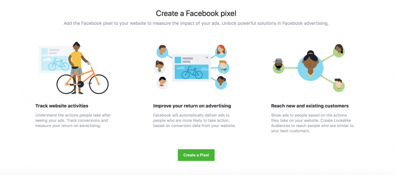 Creating a Facebook pixel.